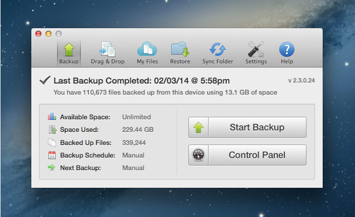 MyPCBackup's desktop app for Mac